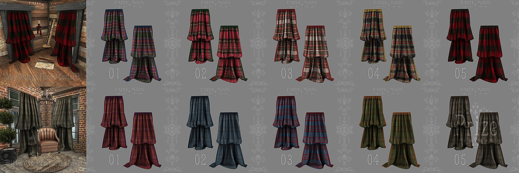 *pm Cozy Cottage Flannel and Winter Time Tartan Curtains