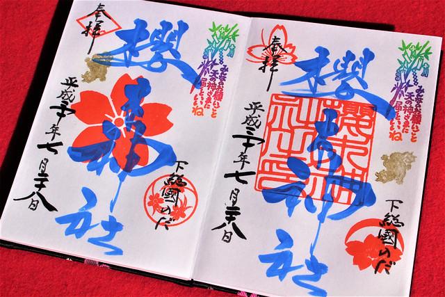 ↑2018年7・8月中にいただけた櫻木神社「青文字の御朱印」