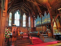 Auckland. Pipe organ and altar in the old St Marys wooden Anglican Cathedral. Built 1886. The new cathedral replaced it in 1973.