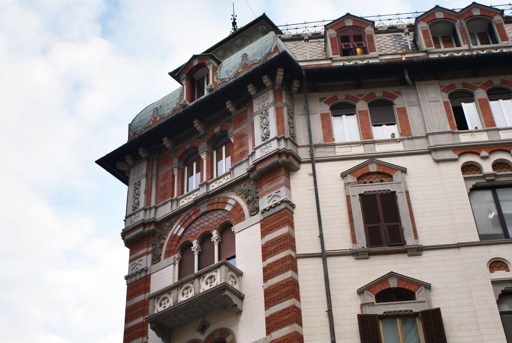 Edifice de style art nouveau sur la Via XX Settembre à Gènes.