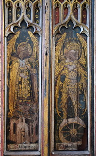 north aisle screen: dominions and cherubim (15th Century)