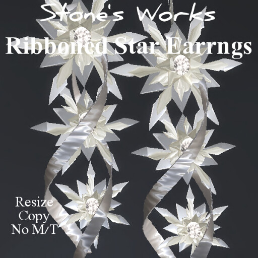Silver Star Ribbon Earring Set - TeleportHub.com Live!