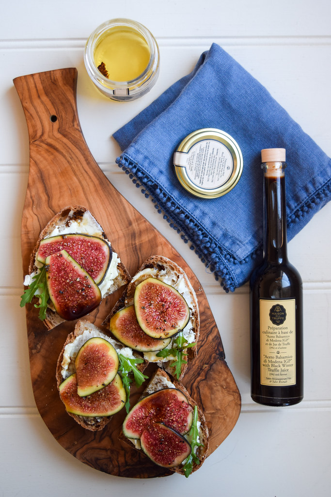 Truffled Christmas Fig and Goats Cheese Crostini
