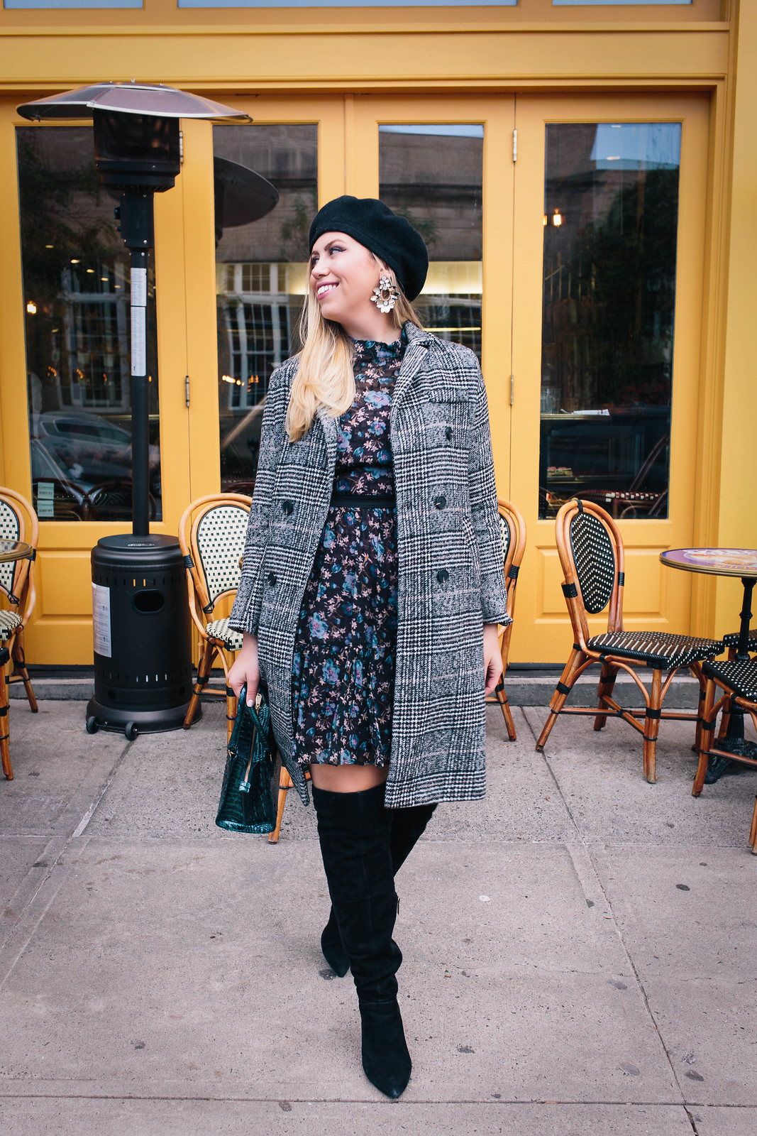 My Favorite Non-Traditional Holiday Outfit | Rebecca Taylor Solstice Silk Blend Dress Black Suede OTK Boots