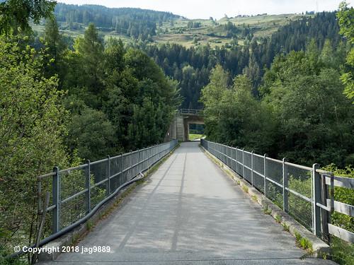 RHE156 Local Road Bridge over the Hinterrhein River, Zillis-Reischen, Canton of Graubünden, Switzerland