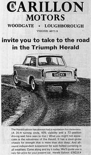 1966 ADVERT - CARILLON MOTORS - STANDARD TRIUMPH DEALERS - WOODGATE LOUGHBOROUGH