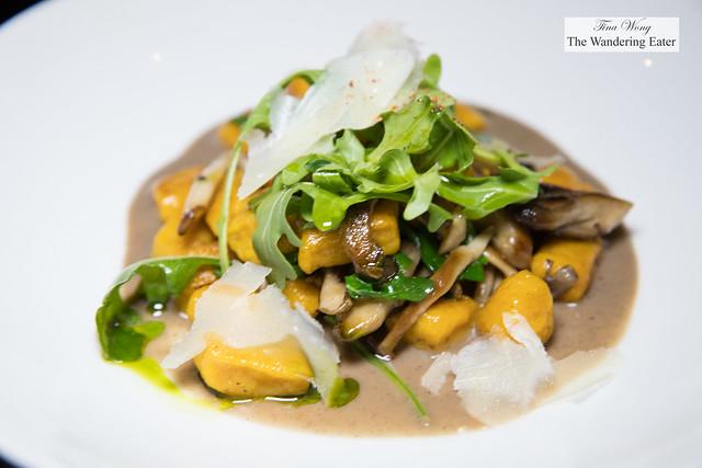 Sugar pumpkin gnocchi, wild mushrooms, arugula, aged Parmesan