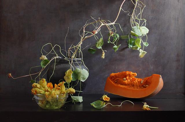 Blossom, Seeds And Flesh Of Pumpkin