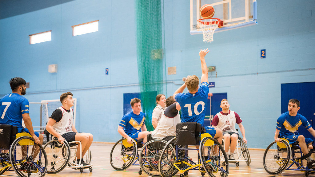 Players in a game of wheelchair basketball