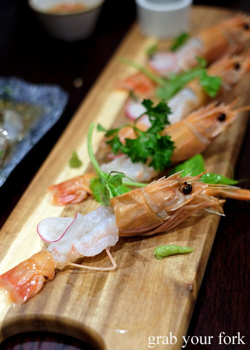 Scampi sashimi at Talay's Thai Seafood Restaurant at Duo Central Park in Chippendale