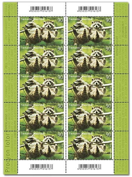 Germany - Young Animals: Raccoon (January 2, 2019) sheet of 10