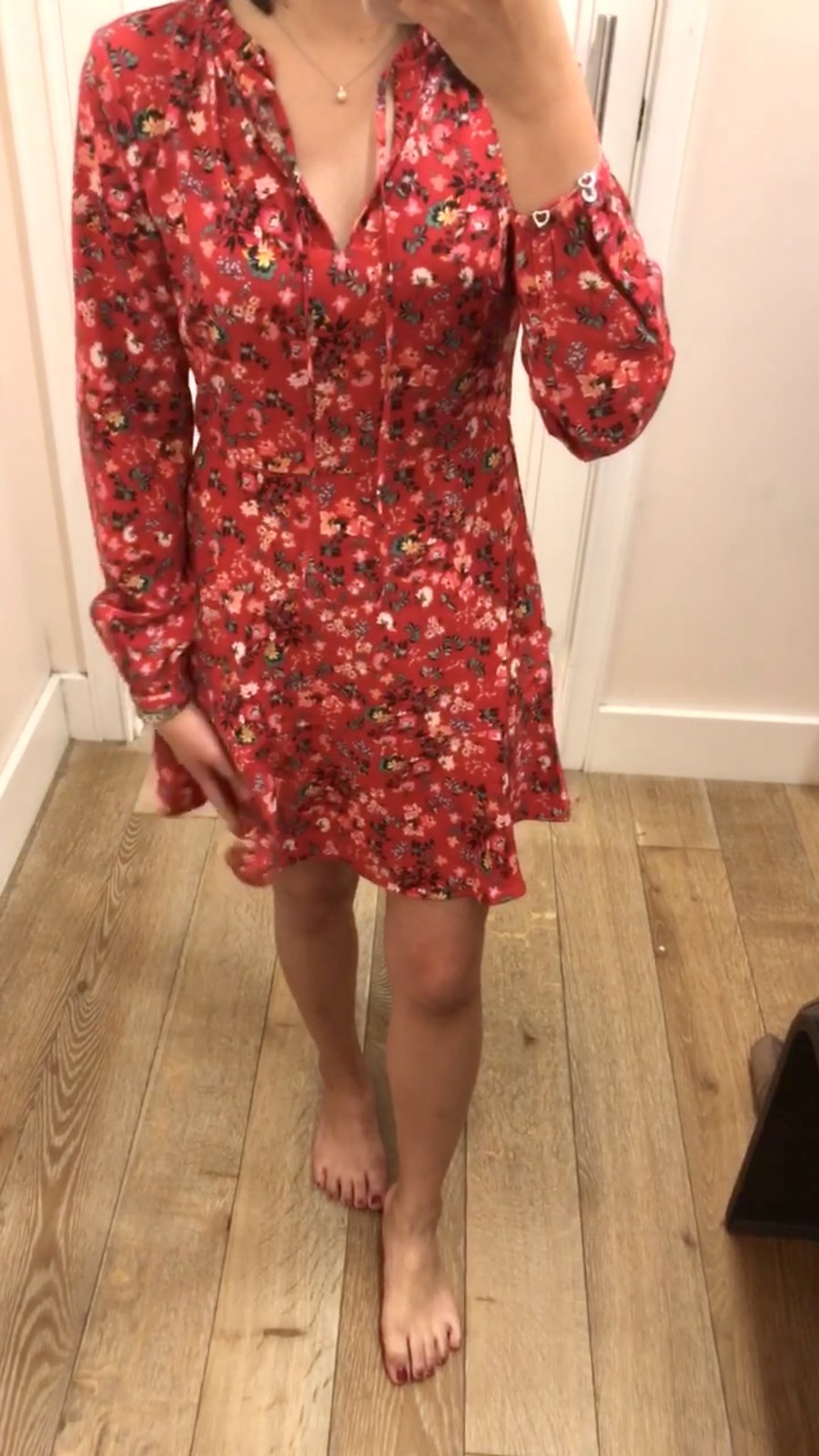 LOFT Primrose Tie Neck Flare Dress, size 0P