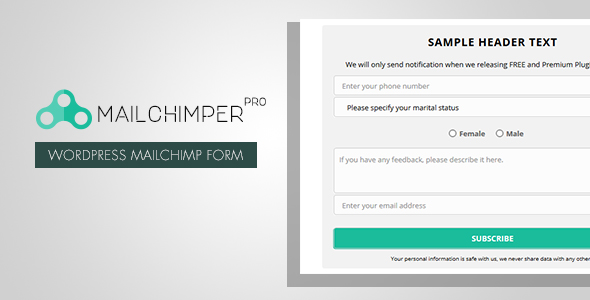 MailChimper PRO v1.8.1 – WordPress MailChimp Signup Form Plugin
