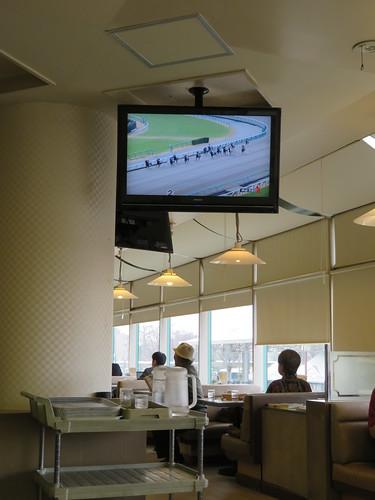中山競馬場のコックドールの店内のテレビ