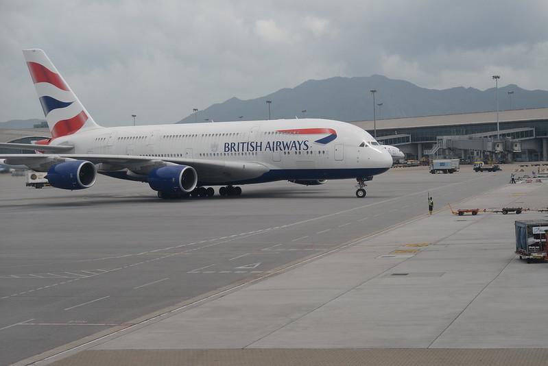 British Airways A380-800 G-XLEL HKG 6-14-17 3