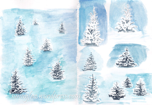 winter trees sketchbook pages