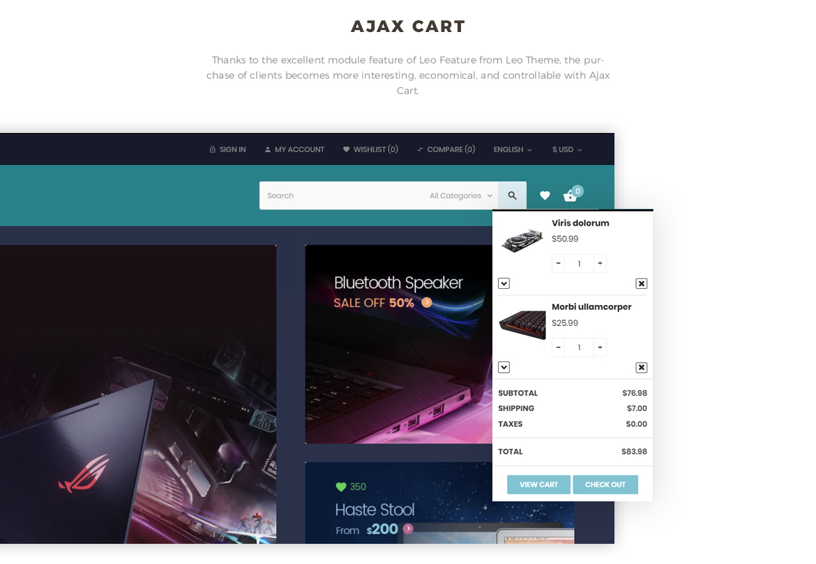 Ajax cart - Bos Atari Gaming Prestashop theme