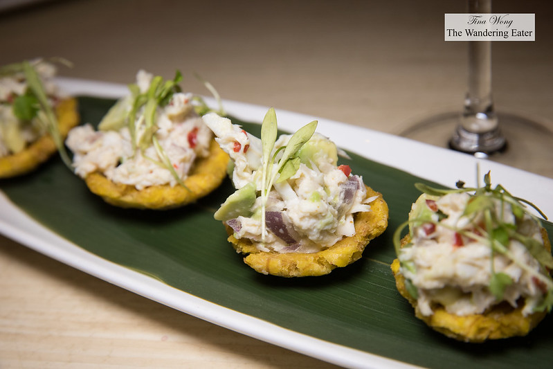 Crab tostones - ump crab salad, red onion, red finger chili, avocado, crispy plantain