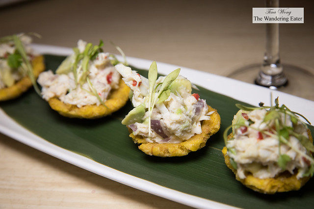 Crab tostones - lump crab salad, red onion, red finger chili, avocado, crispy plantain