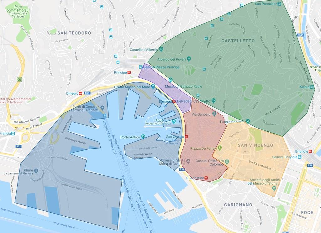 Carte des quartiers de Gènes