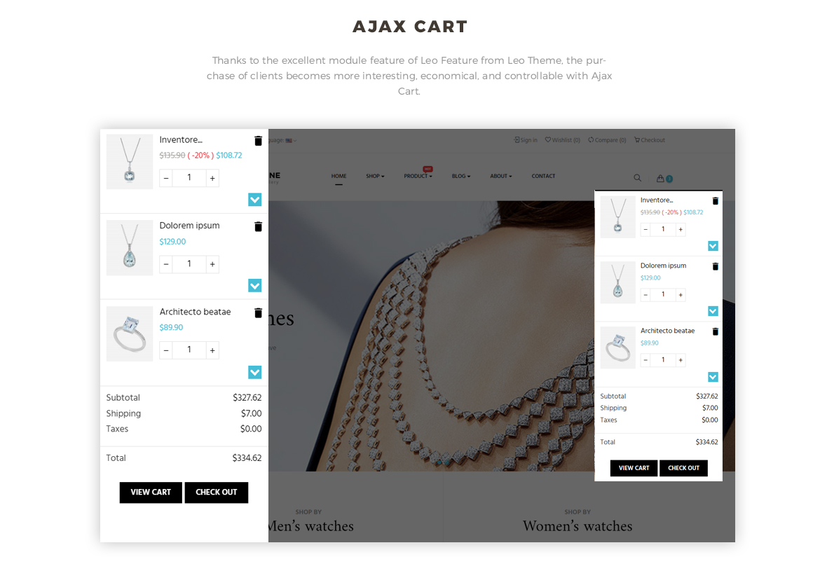 Ajax cart feature for Jewelry online store