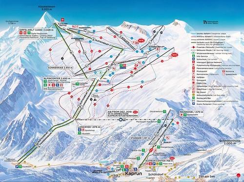 Kaprun - Kitzsteinhorn - mapa sjezdovek