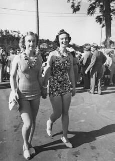 Two models at the Red Cross Fete, Brisbane, December 1940, Queensland