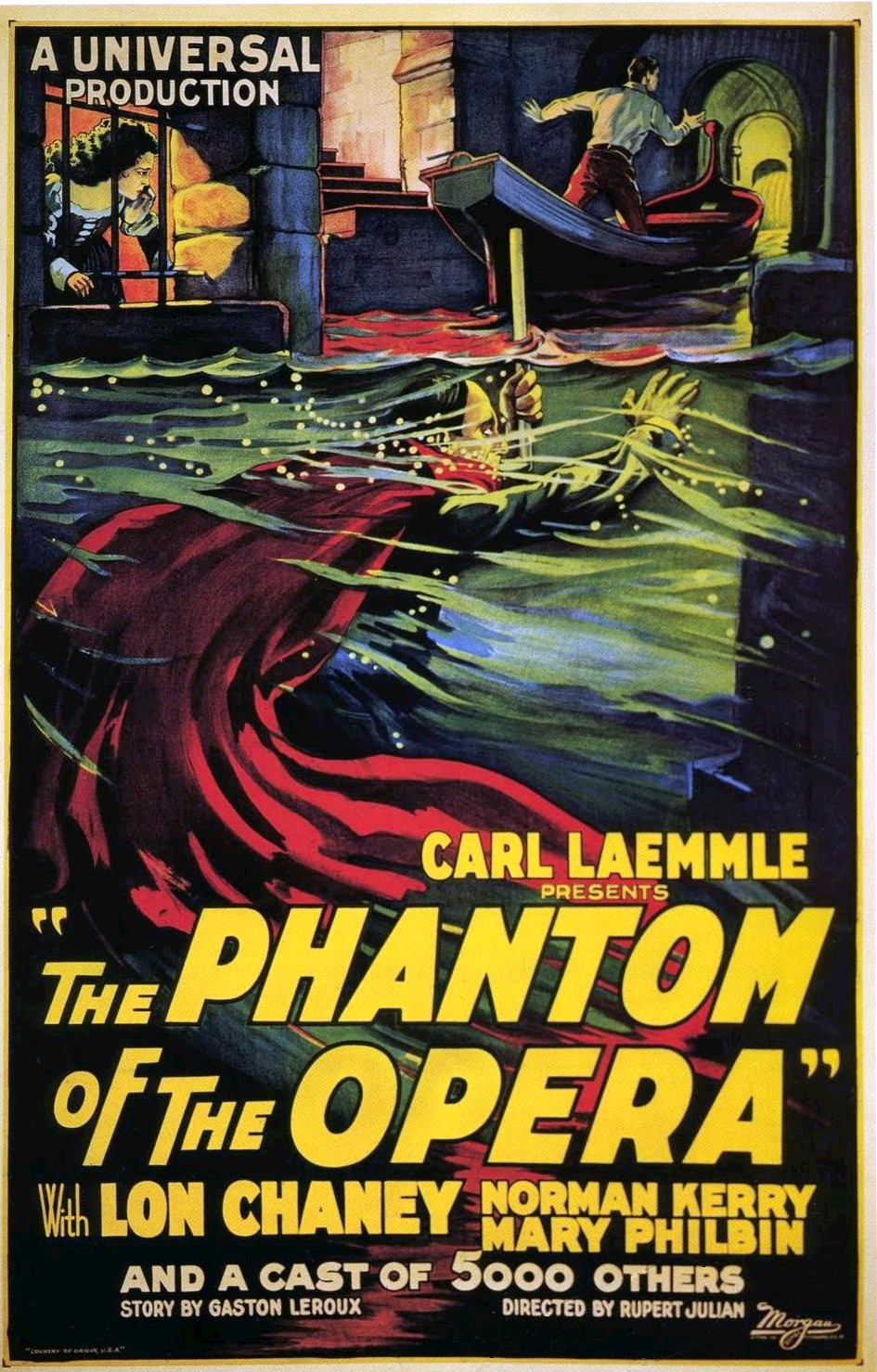 Poster for the 1925 film The Phantom of the Opera.