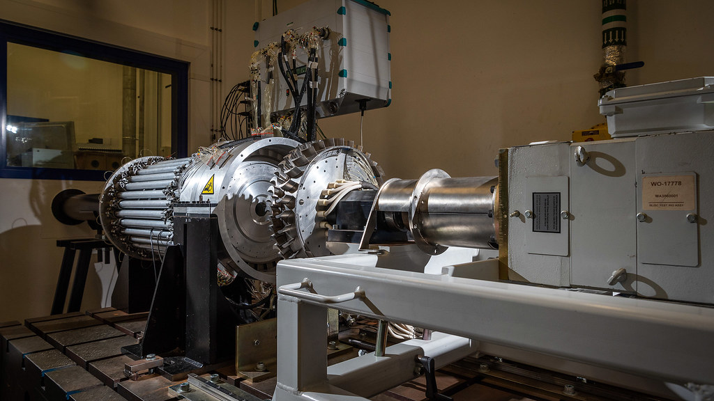 The 1.5-stage gas turbine test facility. The facility is used to investigate hot gas ingestion into upstream and downstream wheel-spaces of an axial gas turbine.