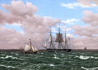 IMG_4401 CW Eckersberg 1783-1853 Copenhague La fregate Galathea après avoir salué un pilote anglais. The fregate Galathea after hailin an english pilot. 1839 Copenhague Collection Hirschsprung