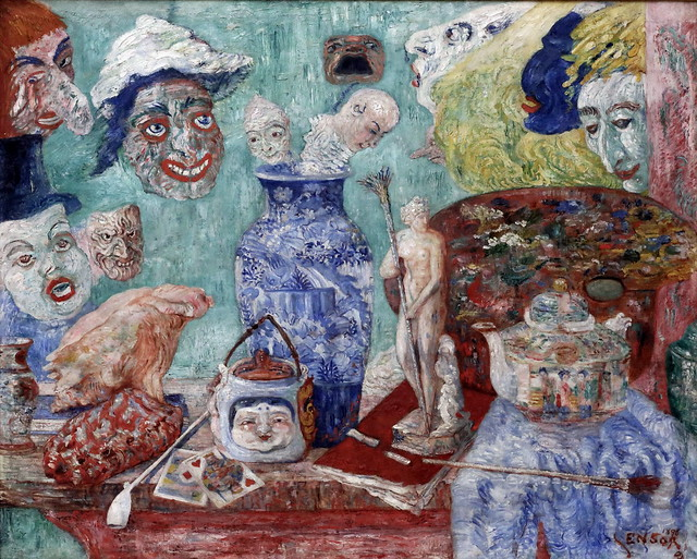 Photo:IMG_4553M James Ensor. 1869-1949. Bruxelles Ostende. Nature morte aux masques  Still Life with Masks. 1896. Hamburg Kunsthalle. By jean louis mazieres
