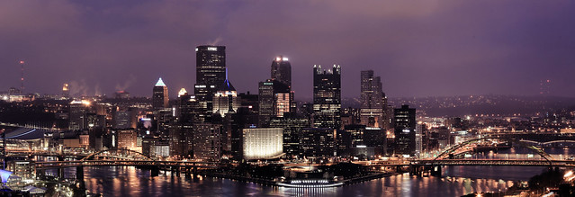 Pittsburgh skyline in the evening