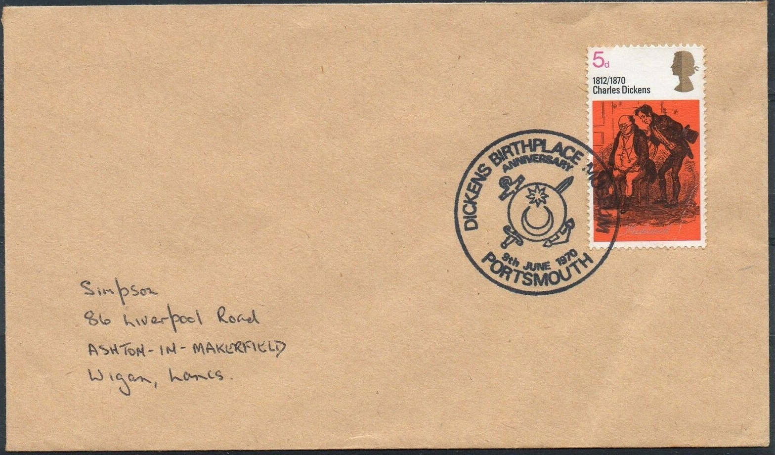 Great Britain - Scott #617 (1970) on cover with special postmark from Charles Dickens's birthplace in Portsmouth, England, June 8, 1970