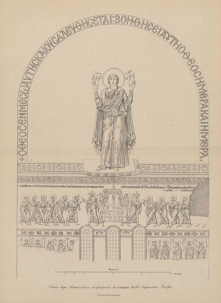 Общий вид мозаических изображений в алтаре Киево-Софийского собора.