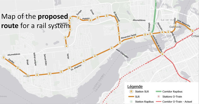 Gatineau - map of proposed route for west end LRT - en