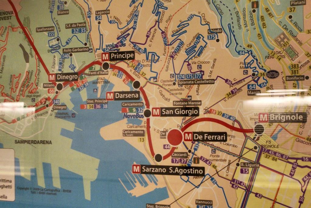 Plan du métro de Gènes sur la partie du centre ville.