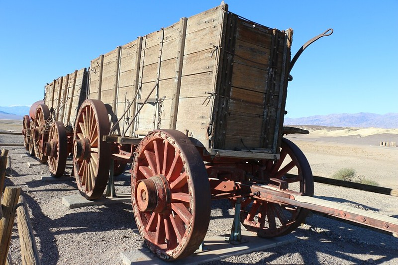 Twenty Mule Team wagon at the Harmony Borax Works in Death Valley
