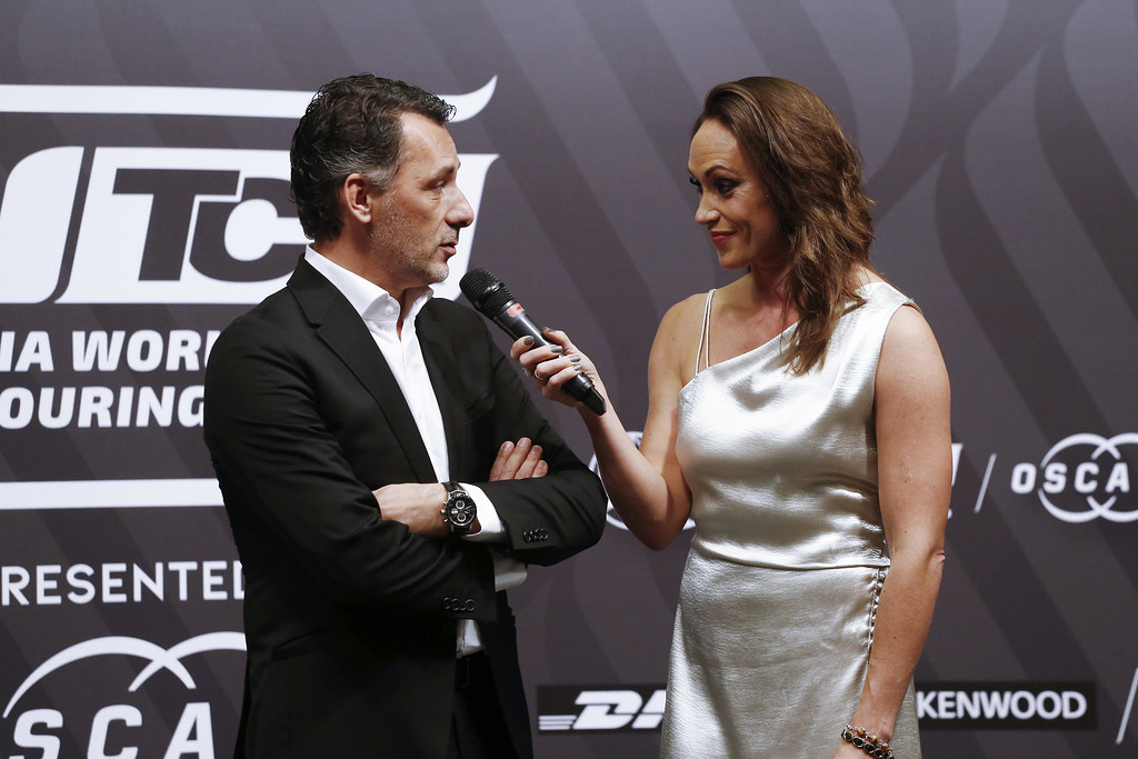 RIBEIRO François, WTCR Eurosport Motorsport Director, portrait LEGOUIX Alexandra, (gbr), Eurosport Tv Presenter, portrait prize giving ceremony  during the 2018 FIA WTCR World Touring Car cup of Macau, Circuito da Guia, from november  15 to 18 - Photo Francois Flamand / DPPI