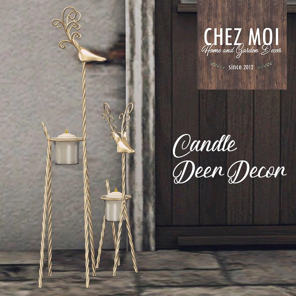 Candle Deer Decor CHEZ MOI - TeleportHub.com Live!