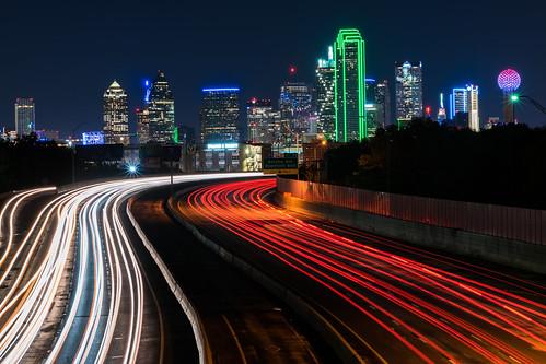 dallas interstate30 nikon nikond5300 texas tomlandryfreeway city cityscape downtown freeway geotagged light lightstream lighttrails lights longexposure night sky skyline skyscraper skyscrapers traffic urban starburst