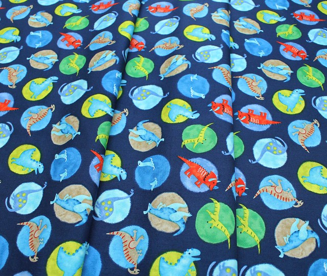 Studio E Fabrics Hear Me Roar! 4396-77 Big Dot Dinosaurs Dark Blue