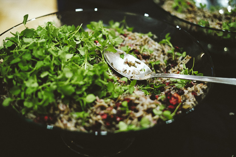 Hand harvested wild rice (Fond du Lac Reservation), wild harvested chickweed, cranberries, and vinaigrette made with local maple syrup.  University of Virginia Food Symposium, Our Evolving Food System: From Slavery to Sovereignty  11/18/2018 Photo credit: Ézé Amos