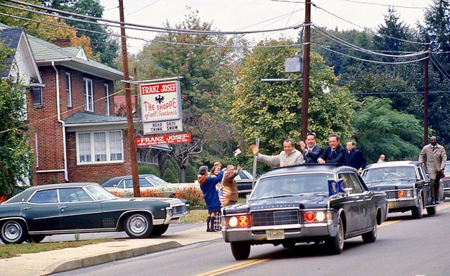 President Nixon's motorcade, Johnston City, Tennessee, October 20, 1970.