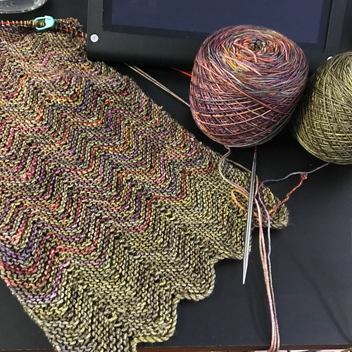 Marilyn's other ZickZack WIP knit with 2 shades of Malabrigo Sock