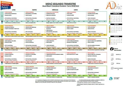 Menú del comedor escolar para los meses de diciembre, enero y febrero  