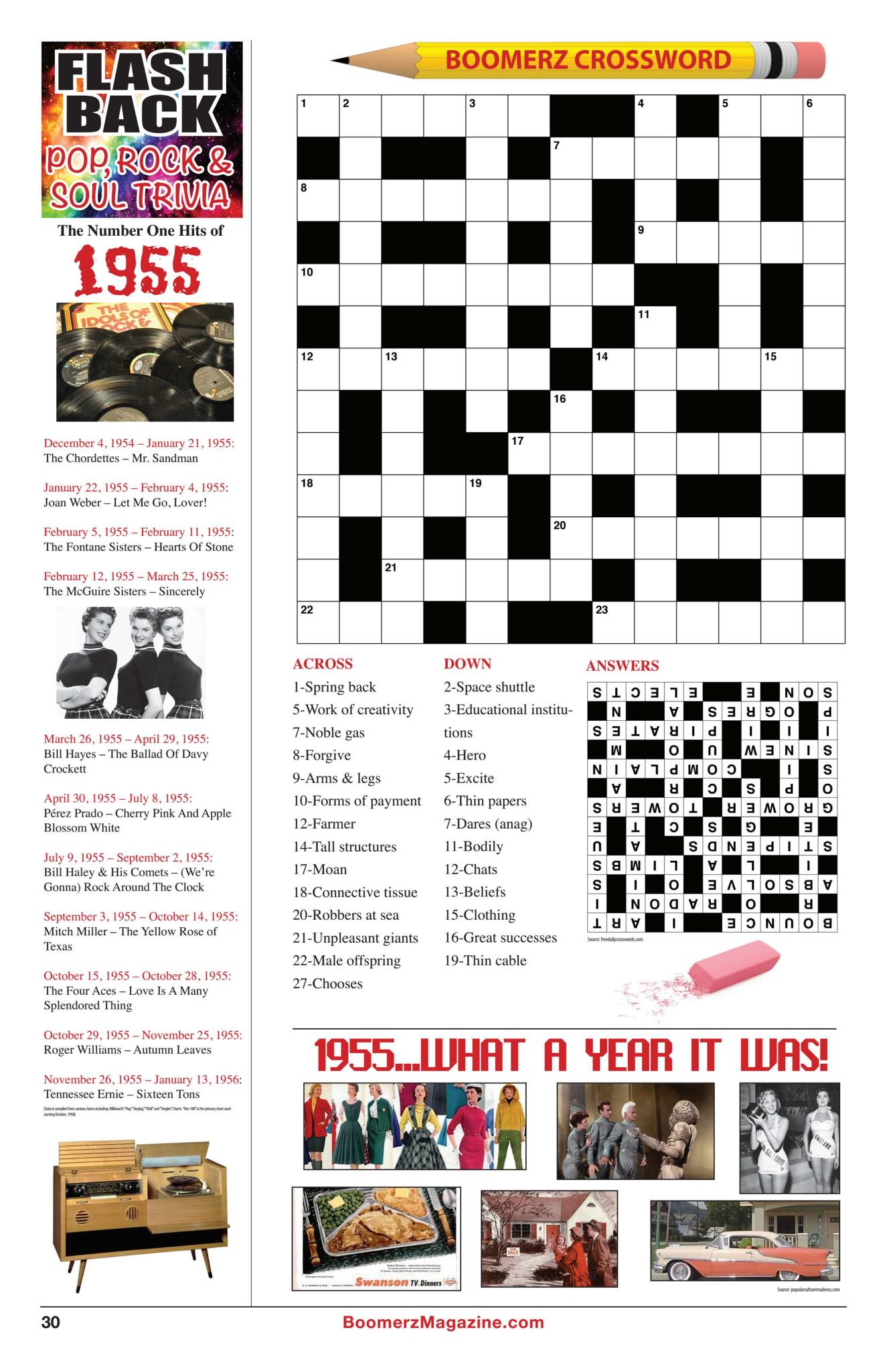 Boomerz Magazine 2018 November Flash Back Pop, Rock & Soul Trivia Crossword Puzzle