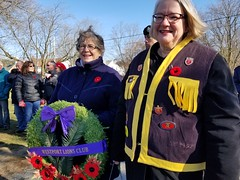 Lions Dorothy Maynard and Heather Huth participated in the Sunday's Remembrance Day service.