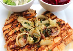 BUTTERFLIED GRILLED CHICKEN BREAST WITH SAUTÉED ONION