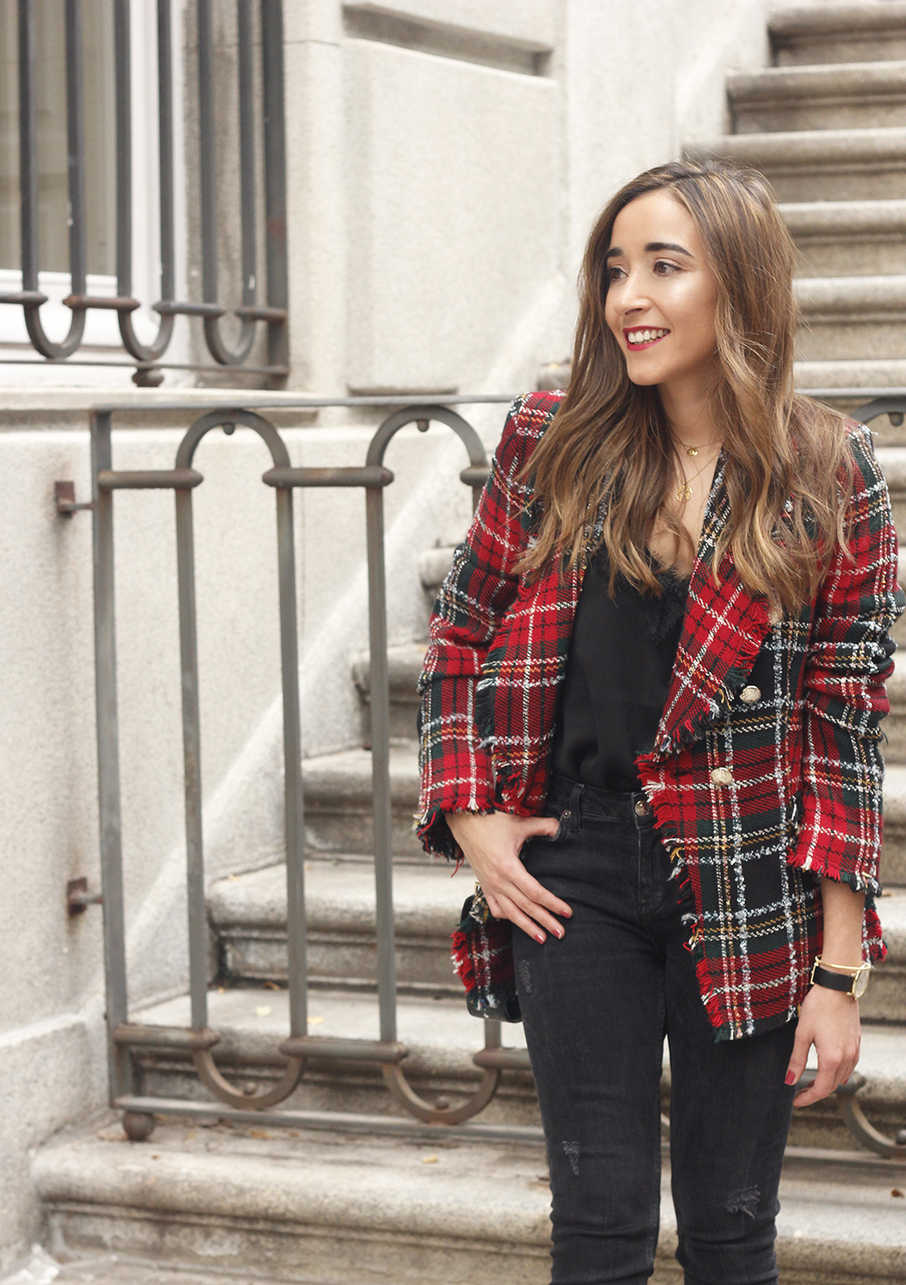 Tartan blazer black outfit heels givenchy bag street style fall outfit 20184168