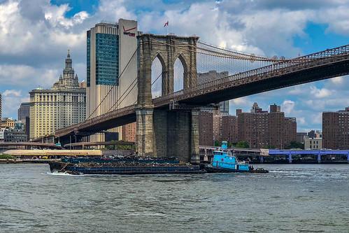 Garbage Barge beneath the Brooklyn Bridge